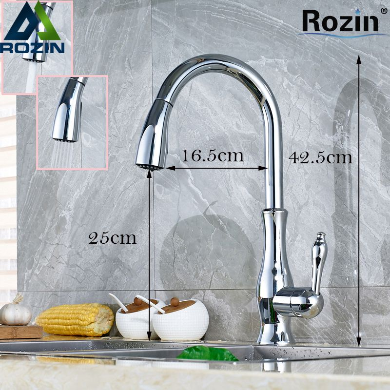 Polished Chrome Pull Out Washing Kitchen Faucet Single Lever Deck Mesmerizing Discount Kitchen Faucets Design Ideas