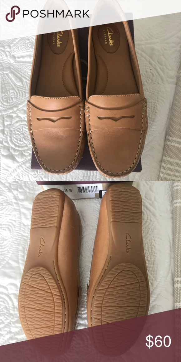 f52878e1881 Clarks brand women s tan loafers Brand new. Great shoes for casual or  business occasions. Clarks Shoes Flats   Loafers