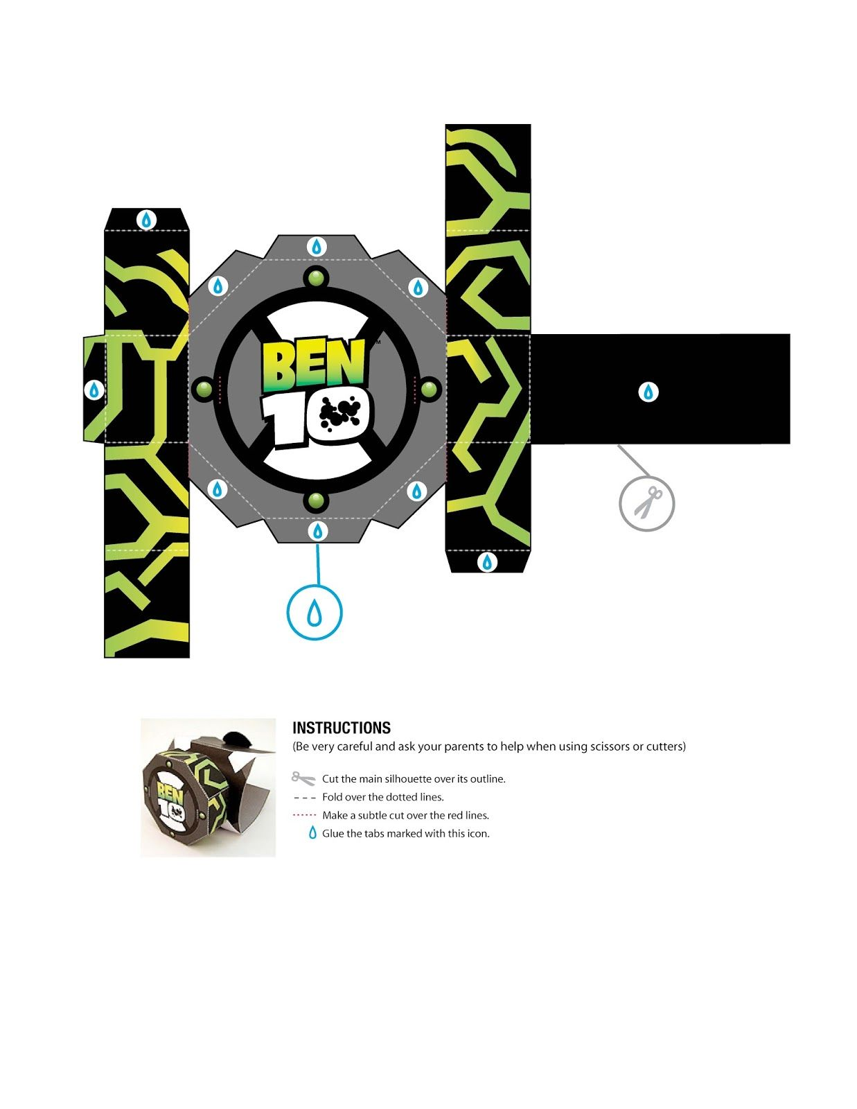 d505aceb962 Boneco 3D e Relógio pra Montar do Ben 10