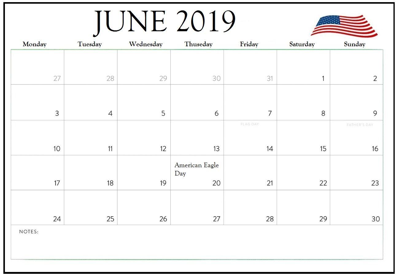June 2019 Calendar With Holidays For Us Canada India Australia