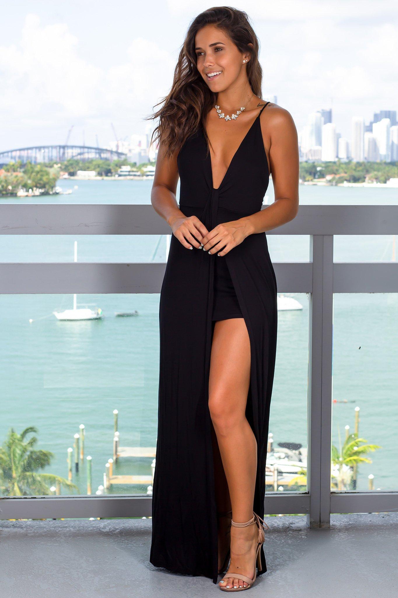 30++ Black v neck maxi dress info