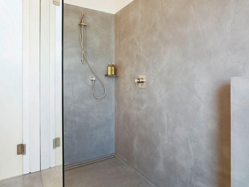 Meubles Blanc Et Bois Et Salle De Bain Beton Cire Penthouse