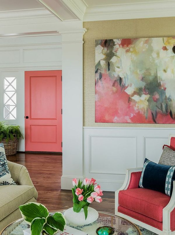 wandgestaltung wohnzimmer wandgemälde polstersessel | Kunst ...