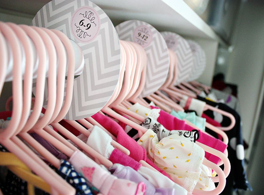 DIY Gray Chevron & Pink Baby Closet Dividers with free