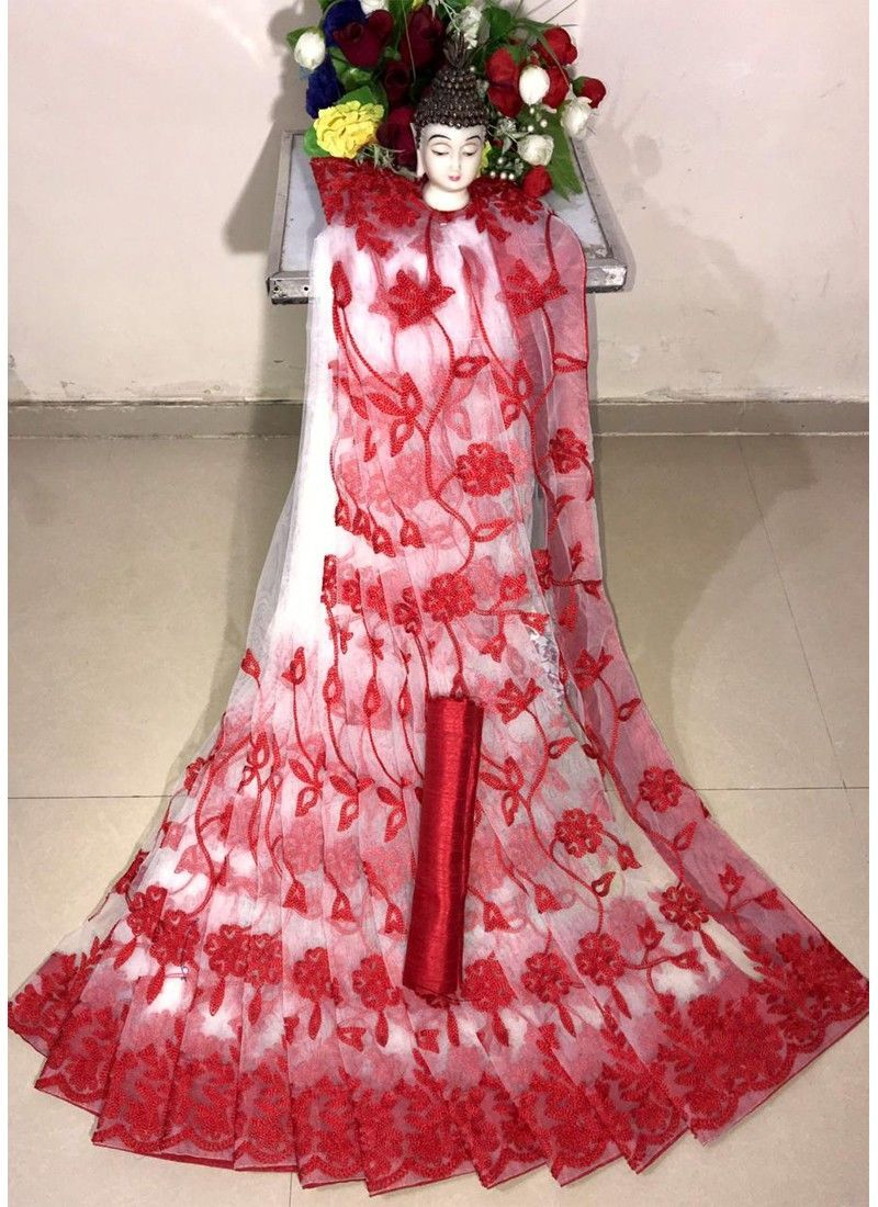 Shop Online New Arrival Soft Net Red Designer Saree