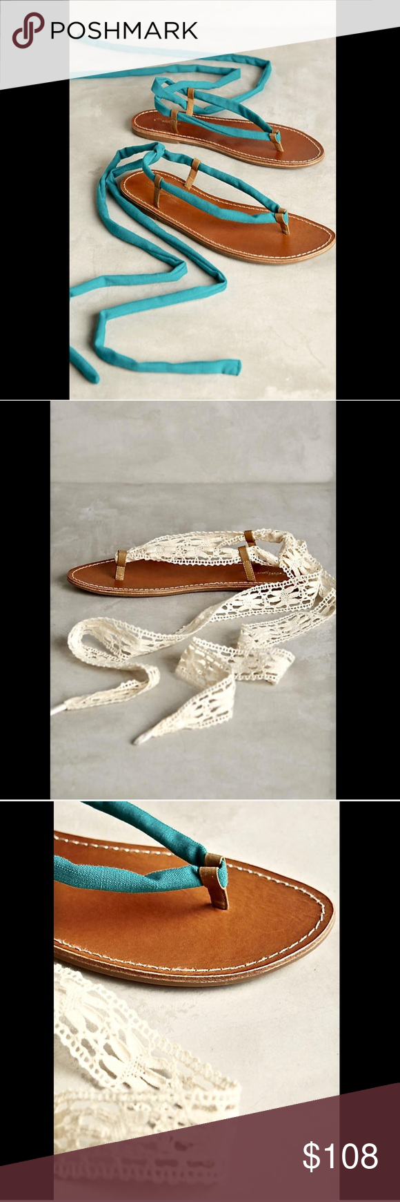 """Anthropologie Interchangeable Lace Up Sandals 9 Anthropologie Miss Albright Katie natural leather Interchangeable Lace Up Sandals  2 sandals in 1! Quick change on the natural tan flat footbed with a rubber sole either choose turquoise cotton lace up wrap ankle laces or the extra pair of ivory lace laces New With Box  *  Size:  9  *Please Note:  These Sandals Run True To Size  footbed measures:  10.5""""  x  3.5""""  Check out my other item! Be sure to add me to your favorites list! Anthropologie…"""