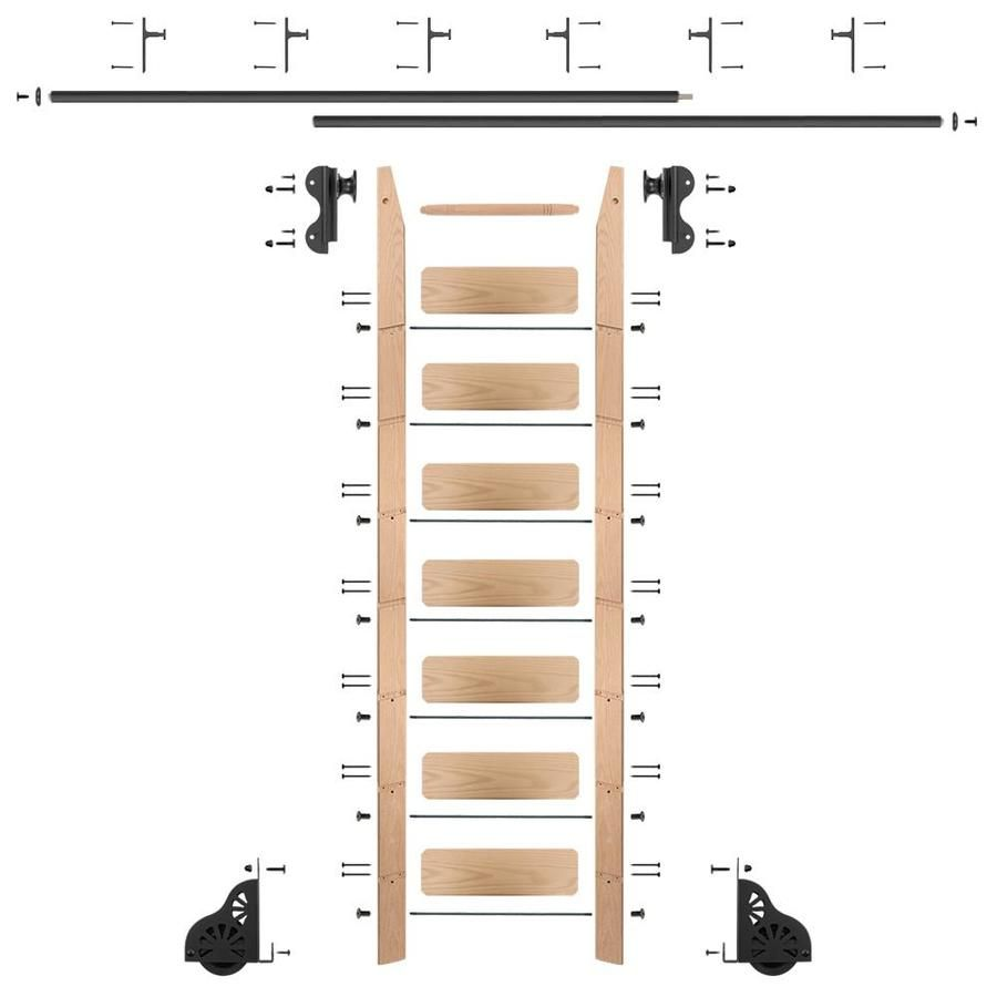 Quiet Glide 8 Ft Unfinished Red Oak Library Ladder Qg5108ro12v08 In 2020 Rolling Ladder Library Ladder Ladder