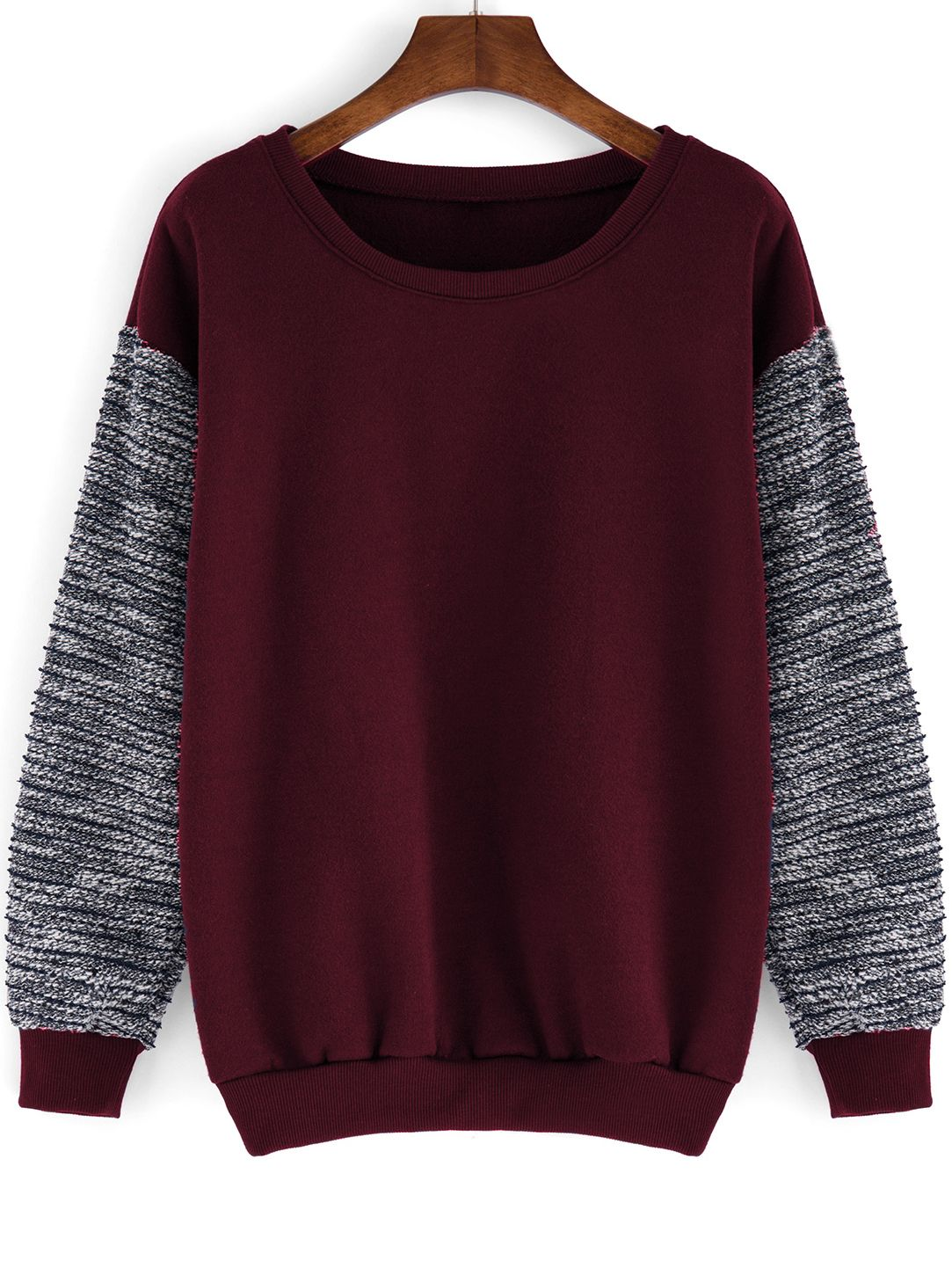 Raglan Sleeve Color-block Thicken Sweatshirt (94 EGP) ❤ liked on ...