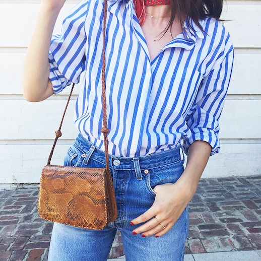 Le Fashion Blog 25 Ways To Wear A Striped Button Down Shirt Python Crossbody Bag Alina Gonzalez Via The Hyperbalist Tucked In