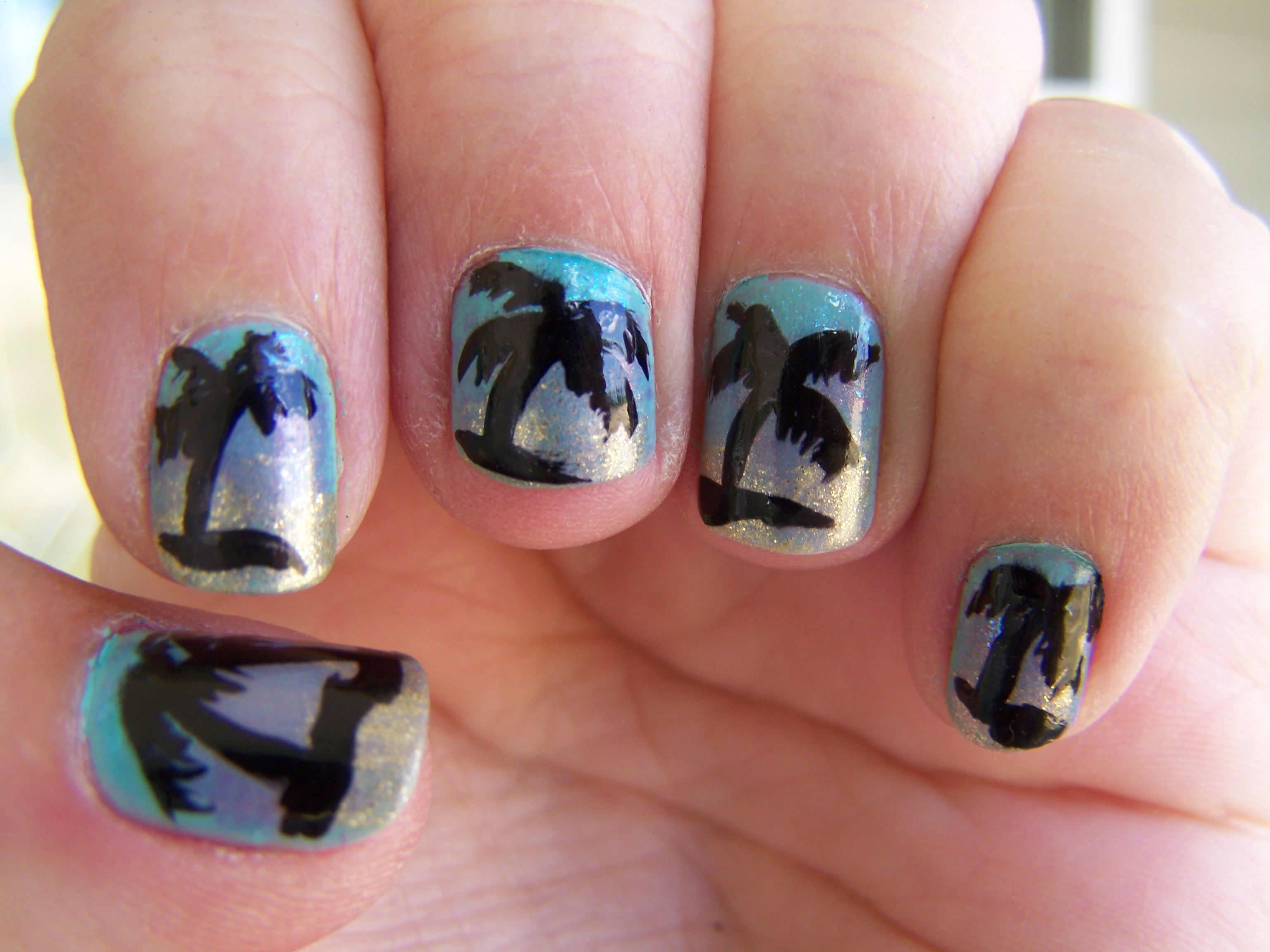 My palm tree nails | Oh, the joy of nail art! | Pinterest | Palm ...