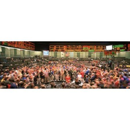 Large group of people on the trading floor Chicago Board of Trade Chicago Illinois USA Canvas Art - Panoramic Images (36 x 13)