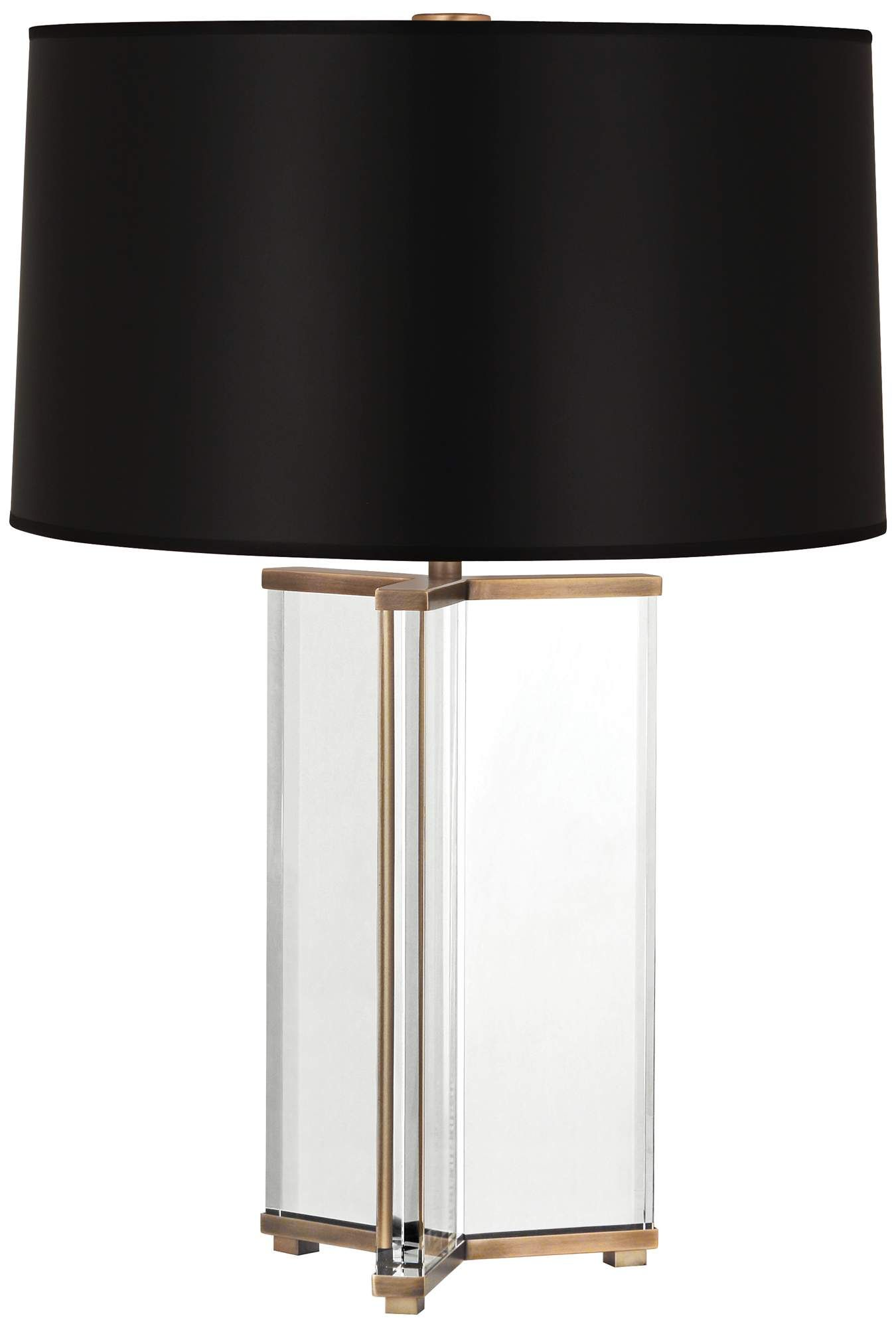 Fineas Aged Brass Crystal Table Lamp with Black Opaque Shade #tablelamp #tablelamps #tablelampideas #tablelampsforlivingroom