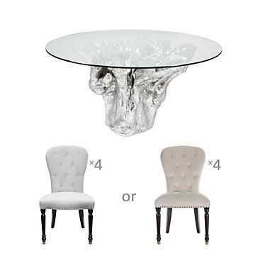 Chic Combo   Sequoia Dining Table 4 Waterloo Dining Chairs From Z Gallerie    White Chairs