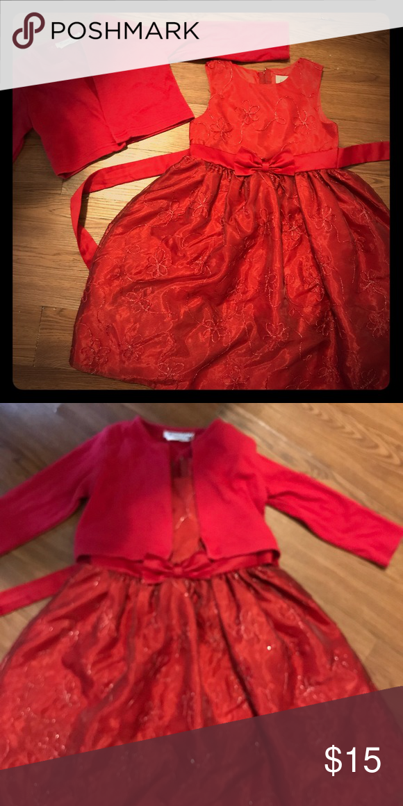 6322cdcc531 Girls 4t Christmas dress Beautiful like new worn once girls 4t Christmas  dress with matching sweater Dresses Formal