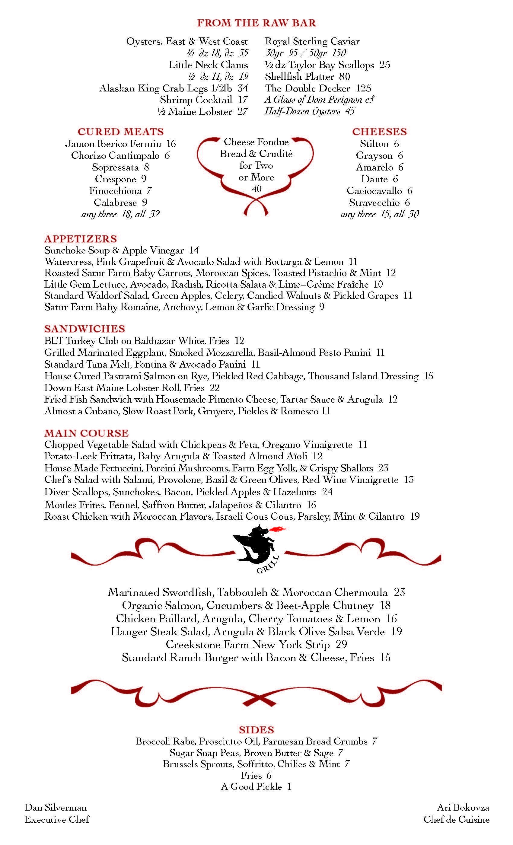 The Standard Grill Nyc Menu Inspiration Shellfish Platter