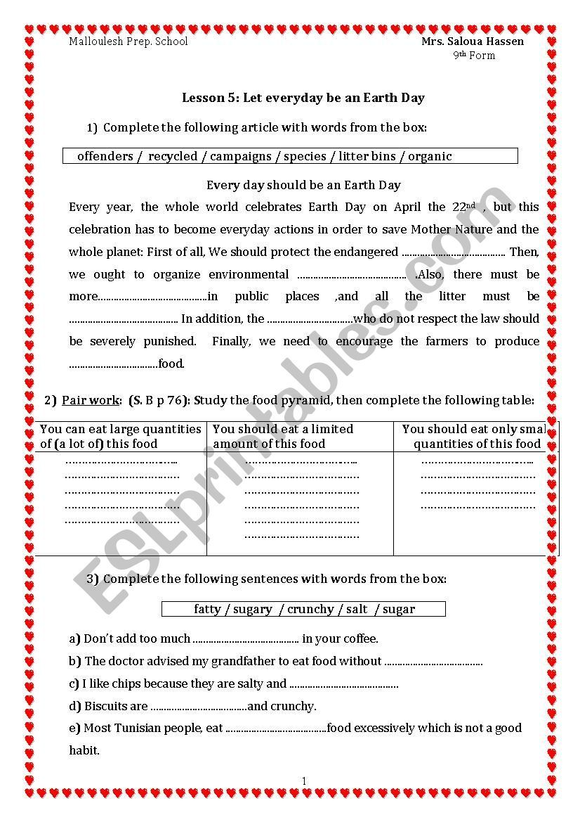 Lesson 5 Let Everyday Be An Earth Day 9th Form Lesson Earth Day Vocabulary Worksheets [ 1169 x 826 Pixel ]