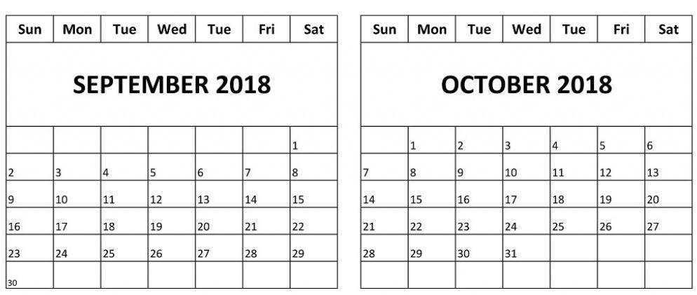 September October Calendar 2018 October Calendar September