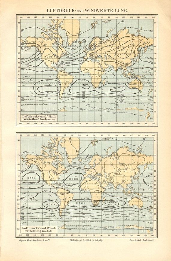 Vintage weather map of the world, wind and air pressure. The size