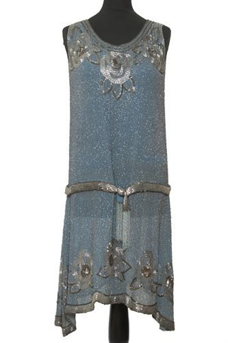 Blue Dresses | blue beaded dress a detailed 1920s heavily beaded dress in baby blue ...