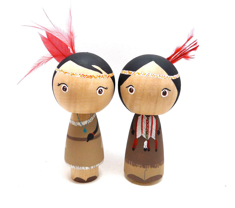Wooden Peg Doll Kokeshi Native American Couple. $45.00, via Etsy.