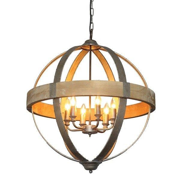 Huge Metal And Wood Sphere Chandelier Wood Pendant Light