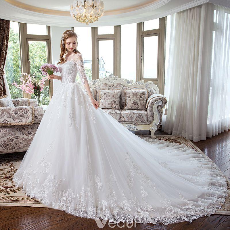 Modern / Fashion White Corset Wedding Dresses 2018 ALine