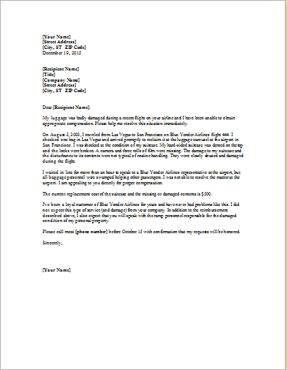 complaint letter for lost luggage