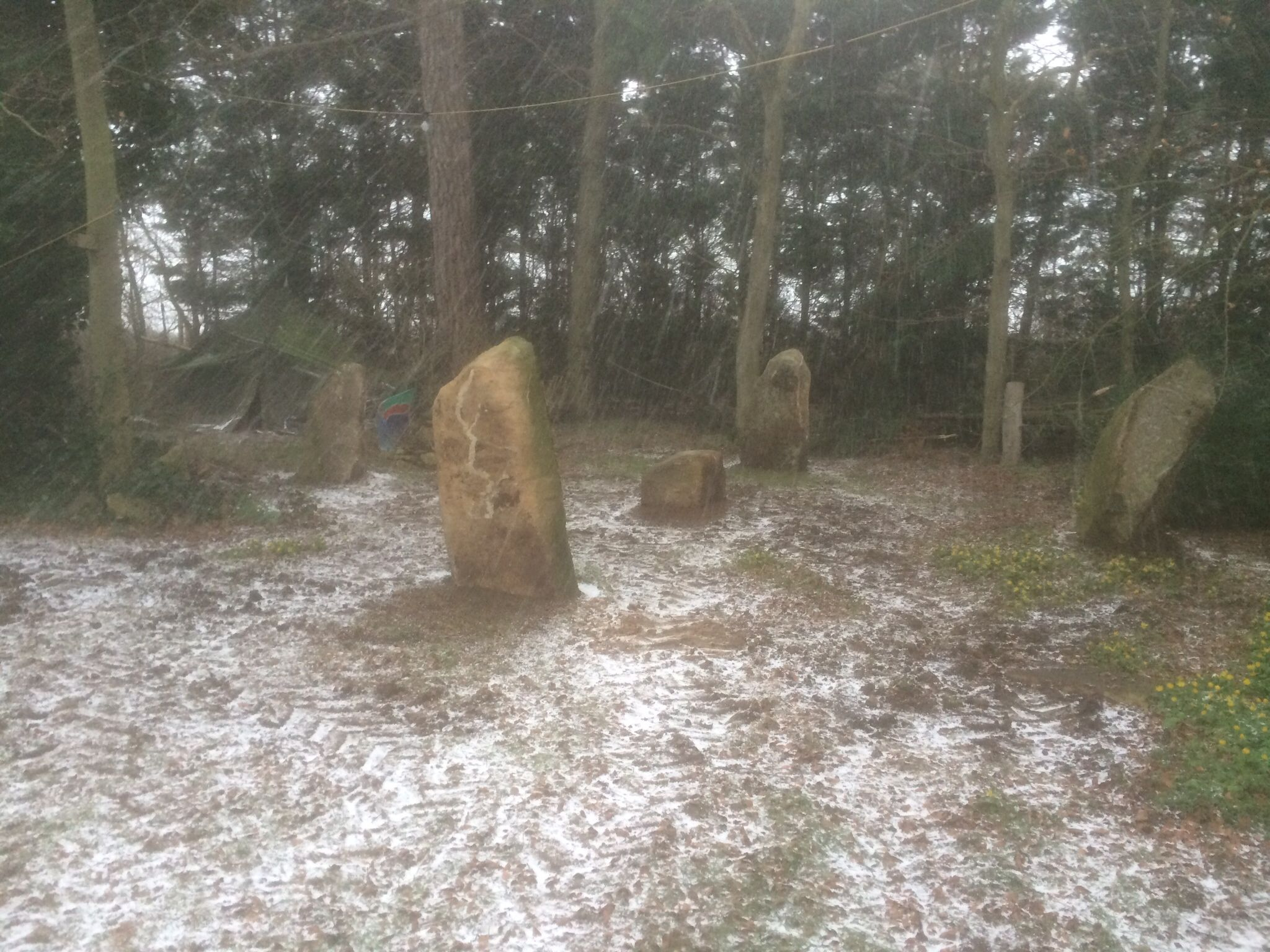 I just finished my bluestone circle and the blue sky and sun disappeared; then it snowed for 5 minutes then back to sunshine