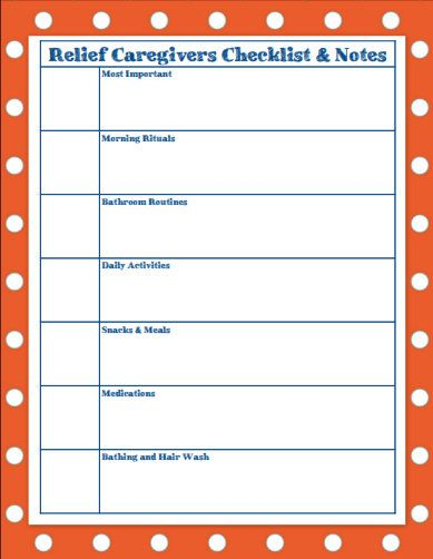 relief caregivers checklist and notes chart