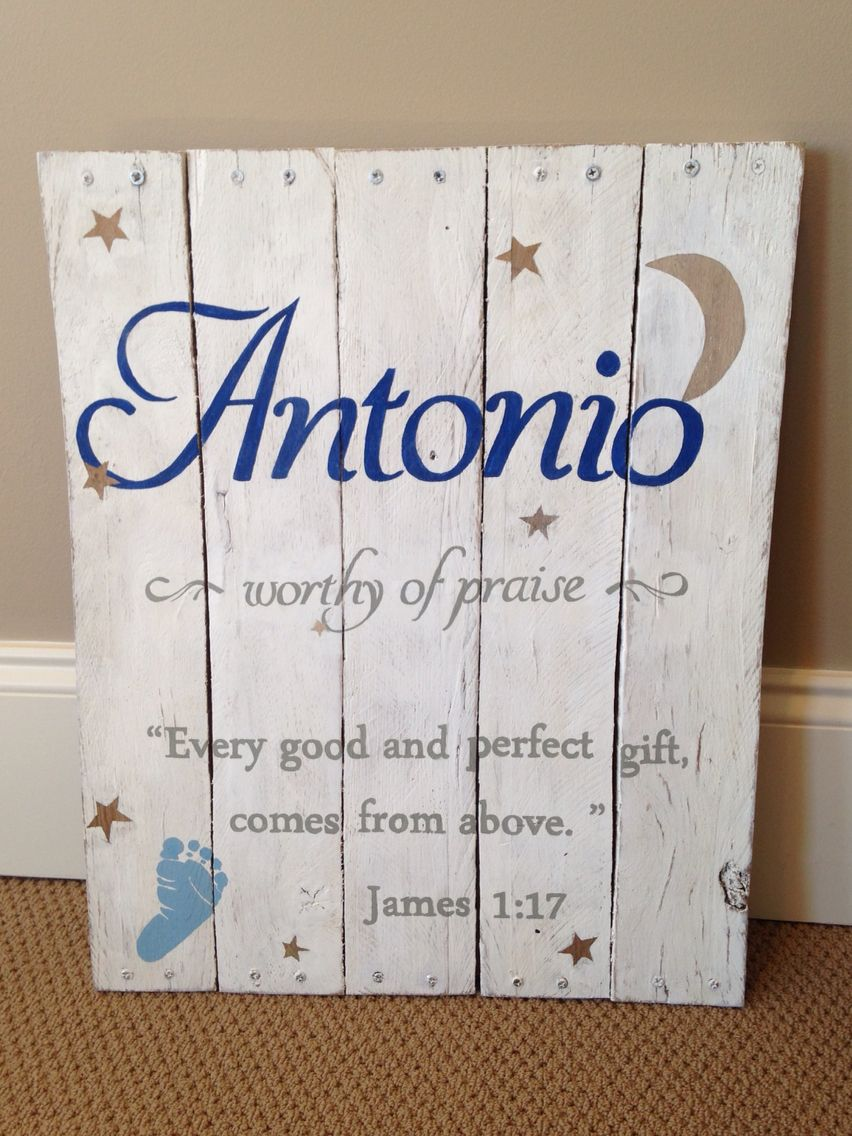 & Sign Decor Meaning Wood Sign Pallet Baby Name Meaning Bible Verse Nursery Boy Rustic
