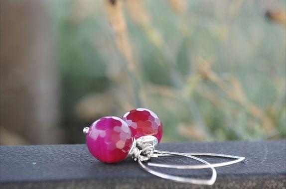 Øredobber - rosa - sølv -
