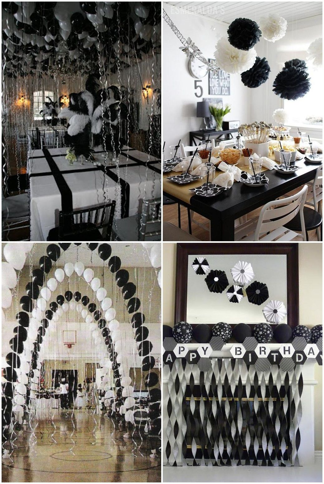 Black and white graduation party ideas party pinterest - Black silver and white party decorations ...