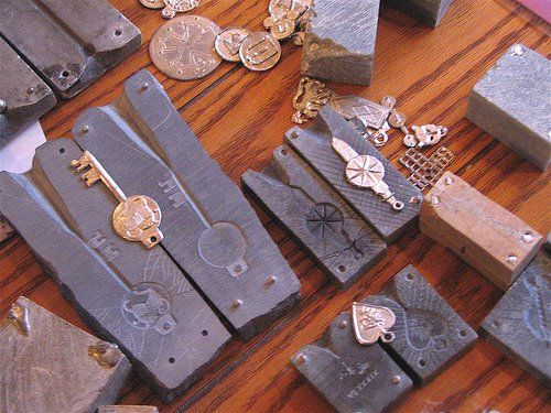 Pewter mold carving and casting class examples