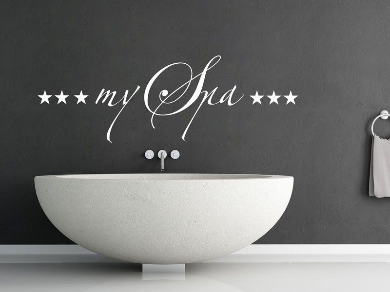 Badezimmer Wandtattoo ~ Wandtattoo my spa mit sternen fürs badezimmer spa