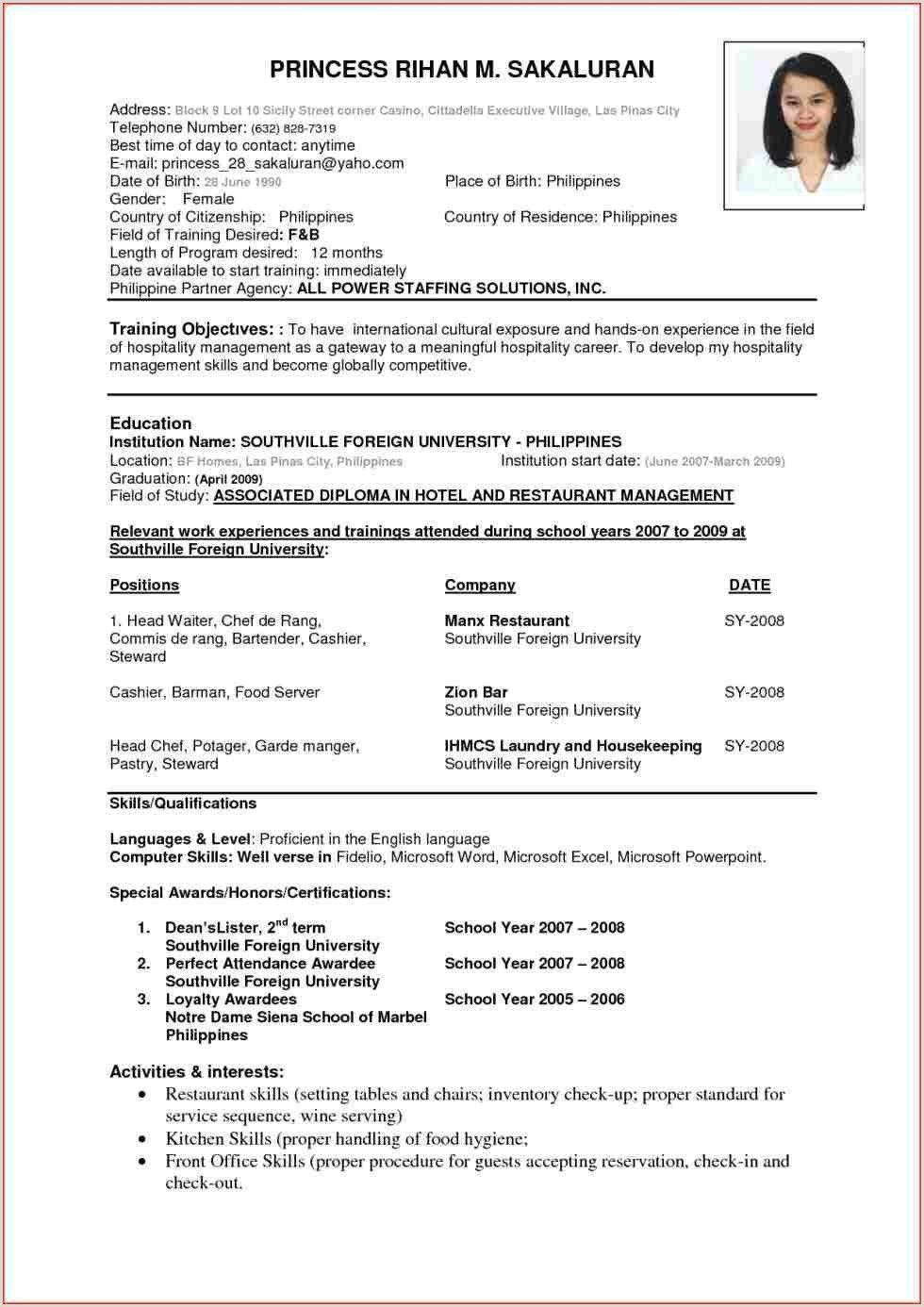 Cv Format For Fresher Air Hostess Best Resume Format Sample Resume Format Job Resume Format