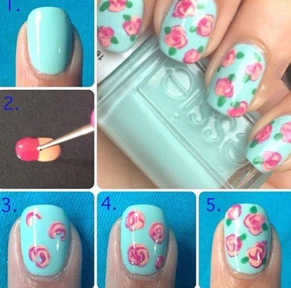 Pintar Uñas con diseño de rosas   Decoración de Uñas - Manicura y ...