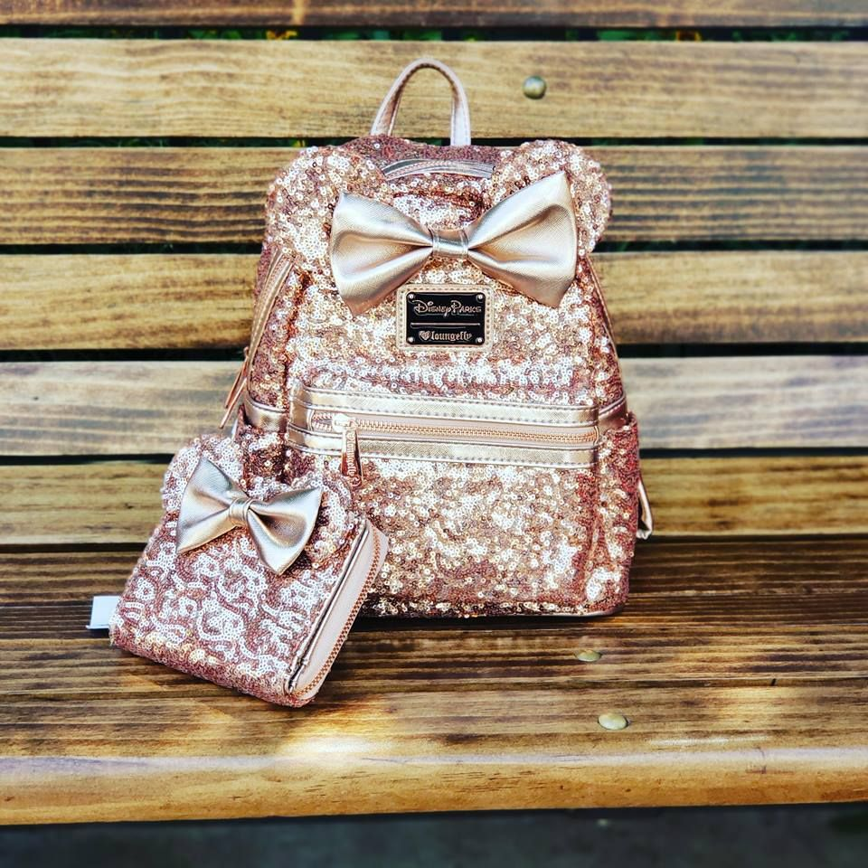 The Sequin Rose Gold Minnie Backpack And Matching Wallet