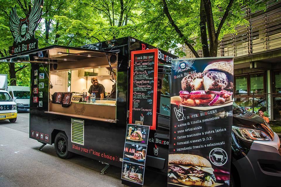 Ducato food truck for hamburgers vending rock burger party