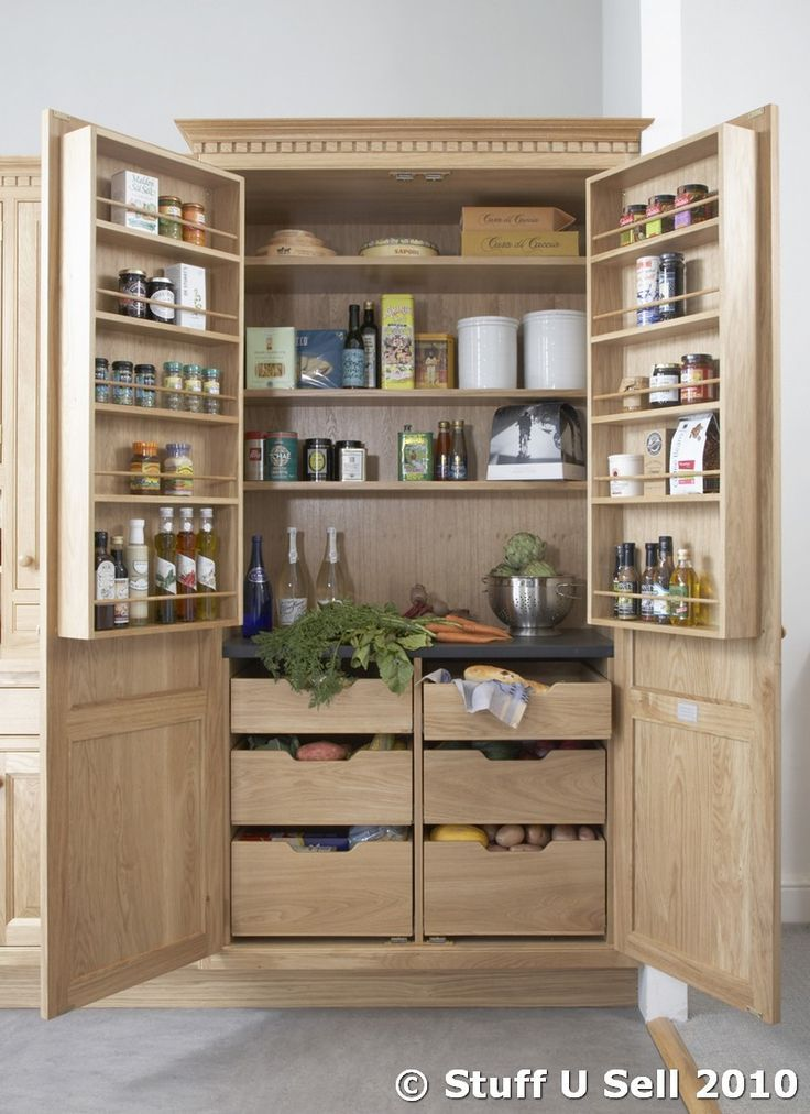 Kitchen storage units nfc oak kitchen larder storage for Tall kitchen drawer unit