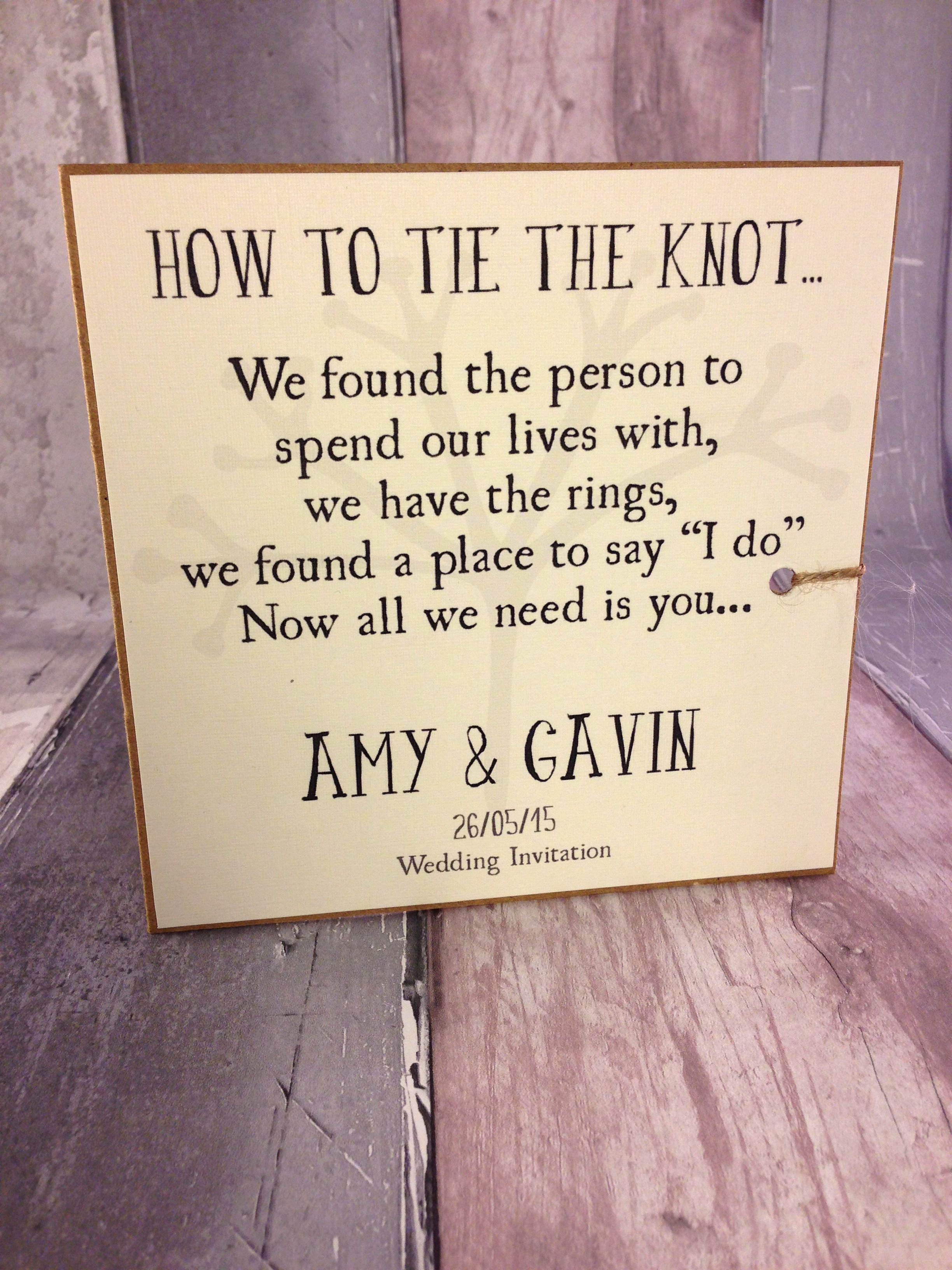 Rustic twine Tie the Knot Wedding invitation, order of service ...