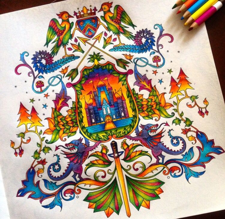 Coat Of Arms Castle Enchanted Forest Brasao Castelo Floresta Encantada Johanna Basford Coloring BookAdult
