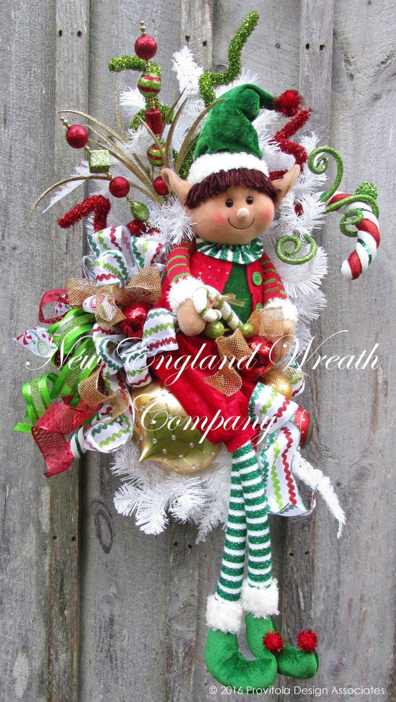 Little elf boy holiday swag a new england wreath company designer