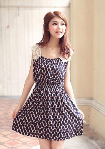 Women's Sweet Dress With Splicing Lace Cat Pattern Print and Elastic Waist Design (SAPPHIRE BLUE.M) China Wholesale - Sammydress.com | Sammy dress ...