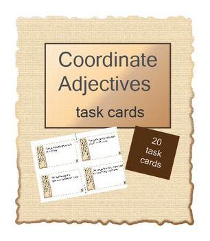 Coordinate Adjectives Task Cards And Worksheet Task Cards