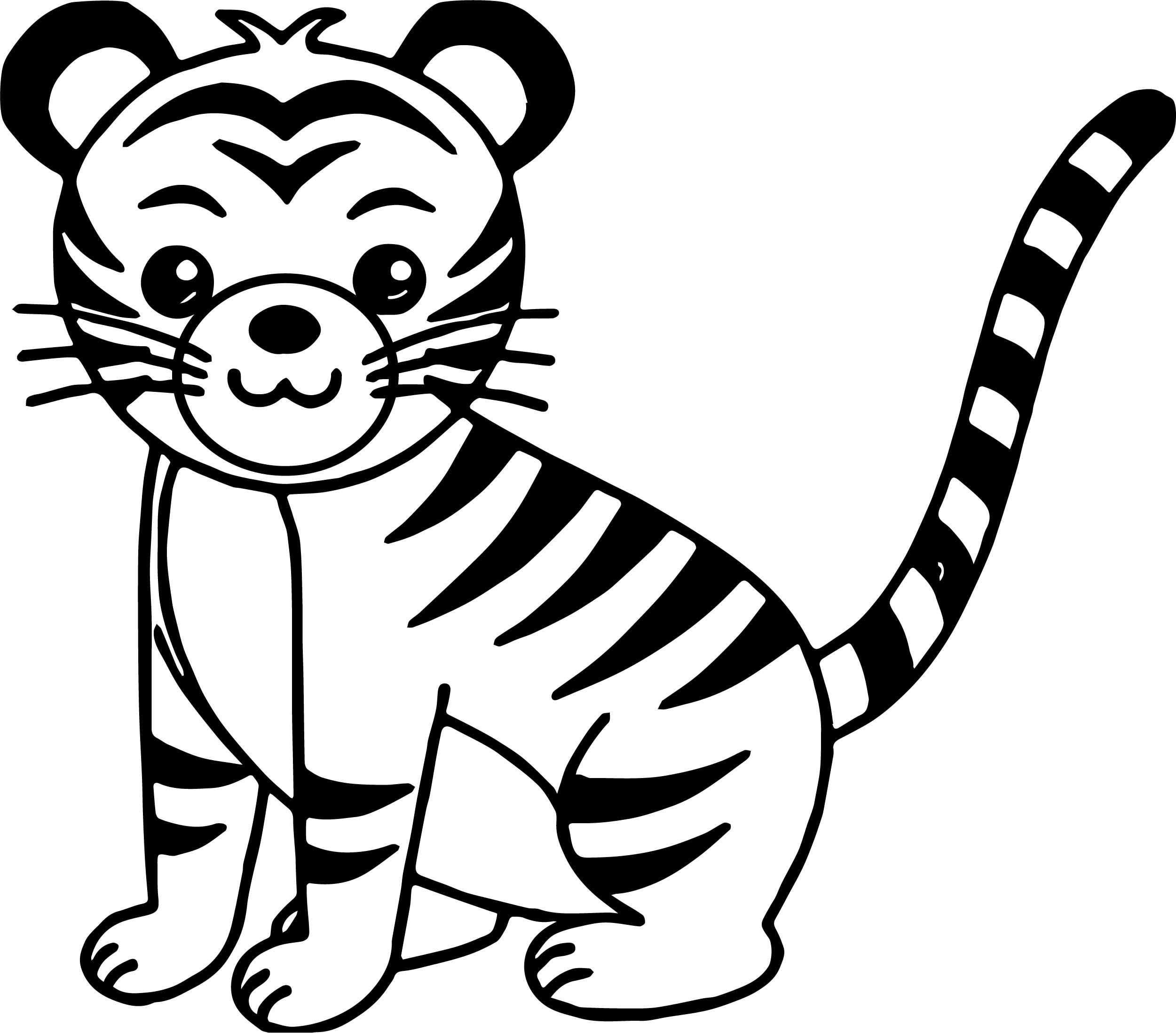 Awesome Cute Cat Tiger Coloring Page