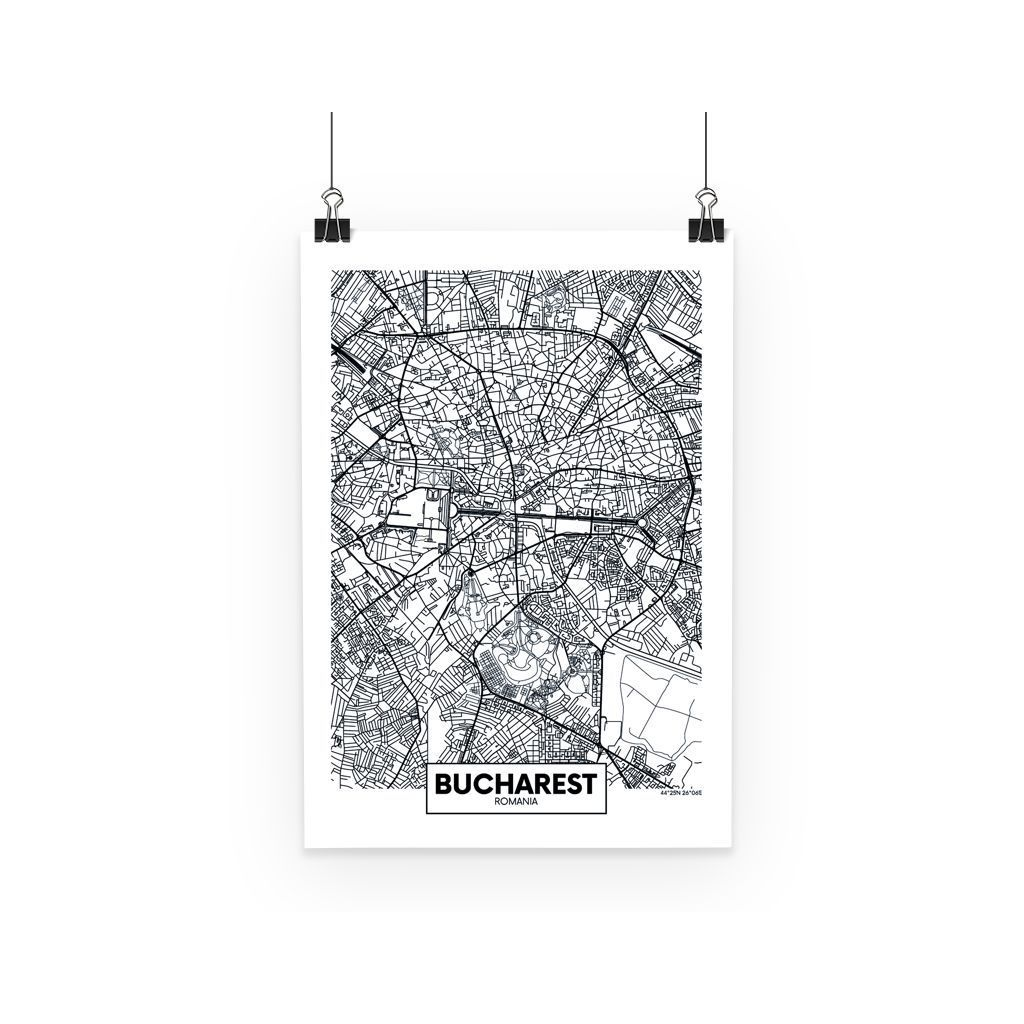 Bucharest Romania Aerial Map Poster Bring your walls and spaces to