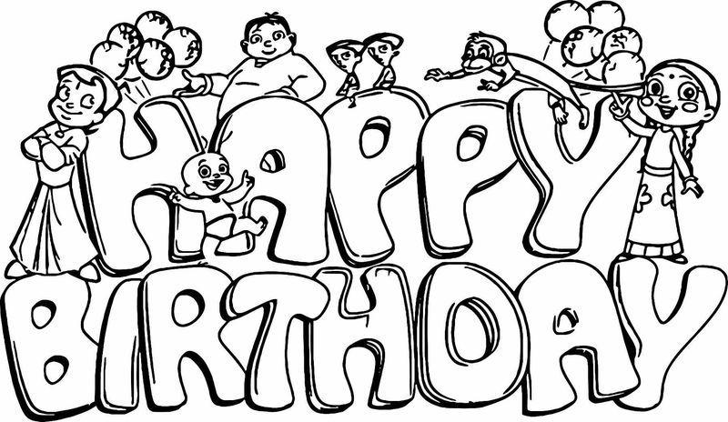 Chhota Bheem Happy Birthday Coloring Page (Dengan gambar)
