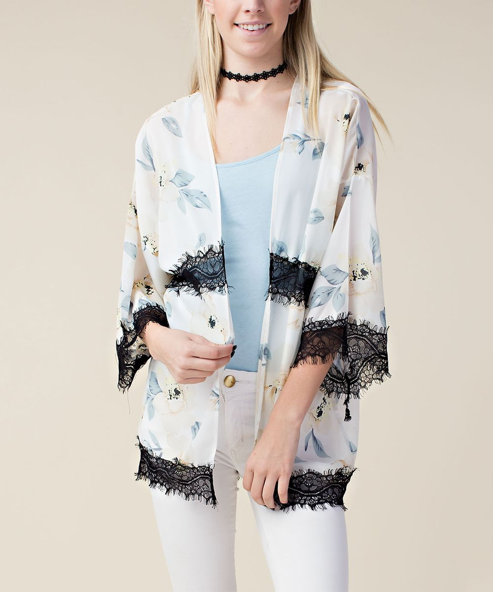 Cream Floral Chiffon Lace Open Cardigan | Products | Pinterest ...