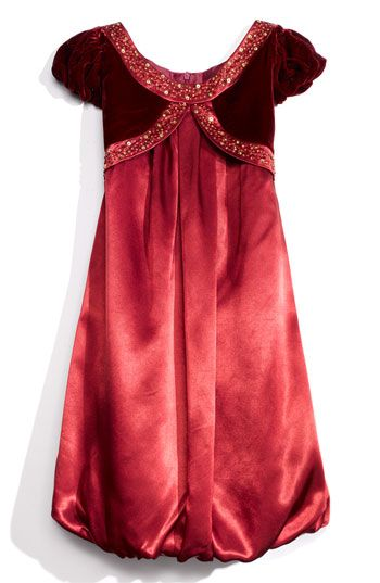Red Wine Satin Little Girls Gown