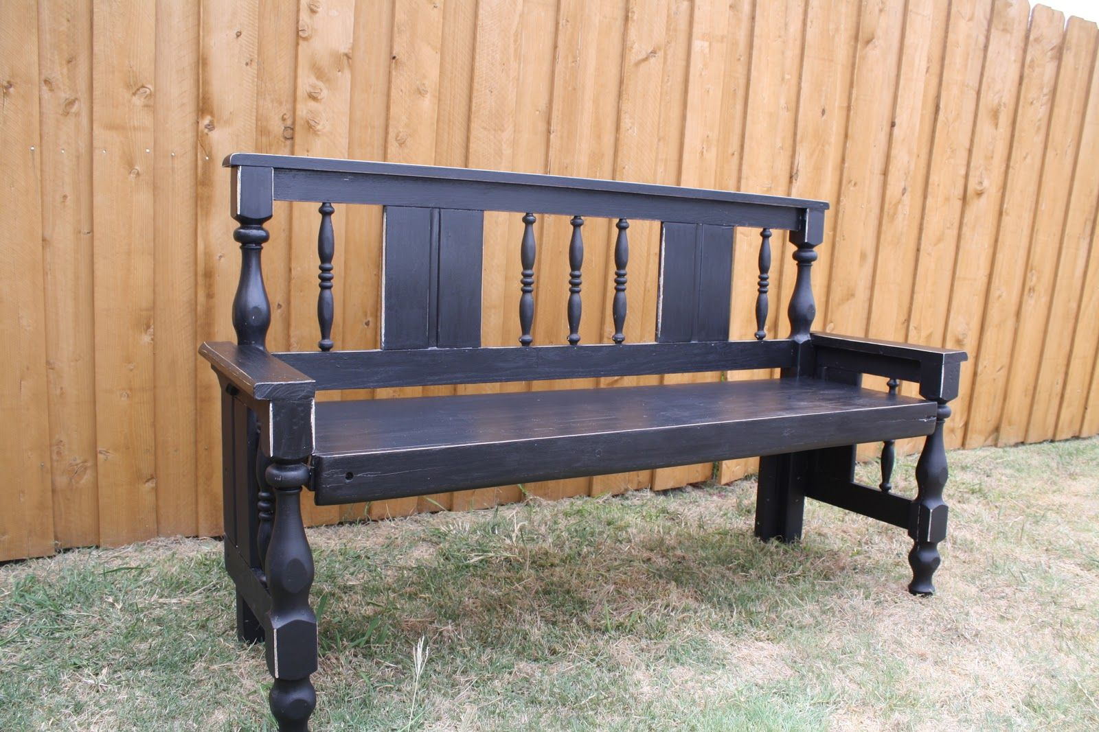 Bench made from a bed frame. Upcycle garden, Wood crafts